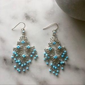 Blue Silver Chandelier Earrings